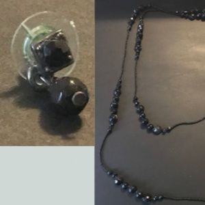 Jewelry - Black Beaded Earrings and Matching Necklace